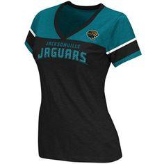 Reebok Jacksonville Jaguars Ladies Original Football Premium T-Shirt - Black-Teal  @Fanatics #FanaticsWishList