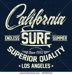California endless summer, surf typography, t-shirt graphics, vectors
