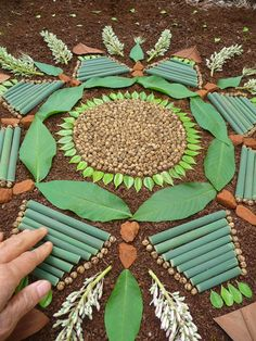 Mandala making after a rainfall, colors are vibrant and materials mold nicely to the earth.