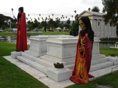 The Hollywood Forever Cemetery in LA is the resting place for many of  the greats of Hollywood. Many paranormal sightings have been witnessed.    Whole Story: http://blog.brillianttrips.com/2009/10/the-hollywood-forever-cemetery/