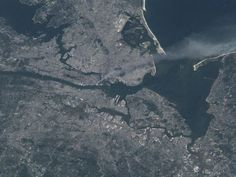 Satellite photo of New York City on September 11th, 2001 - released in memorial by NASA. #NeverForget