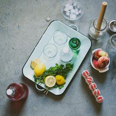「 Tomorrow, I'll be sharing two cocktails #ontheblog!! Peach yogurt soju and a ginger plum kombucha cocktail  #DRINKTHESUMMER 」