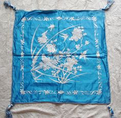 Museum quality absolutely gorgeous teal blue silk cushion cover. A Chinese Canton Export, Qing Dynasty work of art. Intricate hand embroidery
