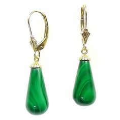 Gorgeous 16mm Natural Green Malachite Teardrop Leverback Earrings, $38.00