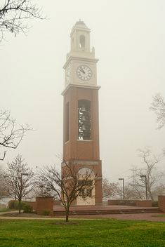 Miami University Clock Tower On A Foggy Morning by Phyllis Taylor #ClockTower #OxfordOhio