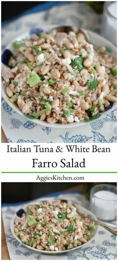 Whole grain salads like this Italian Tuna and White Bean Farro Salad are hearty, healthy and delicious - makes a great light lunch or dinner! via @aggieskitchen