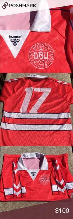 ⚽️️Vintage Danish National Team Jersey #17 1988-90 Danish National Team Hummel XL jersey I was told it was game worn but can't prove it. Very cool jersey to have in your collection.  💯 Authentic 🚫NO trades  👉🏽NO longer taking offers on this item since it is priced as low as i can go. Postmark takes 20% of sales plz keep that in mind ❣️Please be kind as that's what you'll get in return ☮️Thanks for the opportunity to share my goods w/ u ✌🏽️💝😁 <- My Motto Peace, Love & Happiness Always…