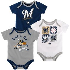 Milwaukee Brewers Majestic Newborn & Infant Go Team 3-Pack Bodysuit Set - Navy/Gray/White