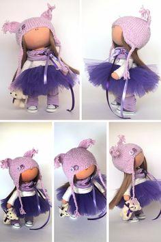 Bambola di amore del tessuto colore viola di AnnKirillartPlace