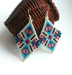 Large Diamond Shape Seed Bead Earrings-Beaded Ethnic Earrings-Ethnic Beadwork Diamond Earrings-Large Beadwoven Ethnic Earrings by Galiga on Etsy https://www.etsy.com/listing/225706863/large-diamond-shape-seed-bead-earrings