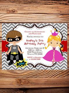 PRINCESS or SUPERHERO Birthday party Invitation, Superheroes or princesses, Boy, Girl, Princess, Superheroes, Gray, Red, Chevron Stripes-Y41 on Etsy, $21.00