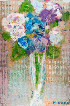 """Blue Splat Hydrangea"" 36x24 mixed media Available at Atelier Gallery 843-722-5668"
