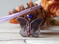 Wire Wrapped Glass Pendant Purple Glass Butterfly Glass