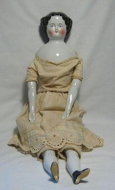 "21"" German Flat Top China Head Doll, circa 1860s"