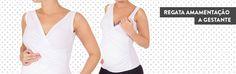 """Regata Amamentação. Blusa regata transpasse, ideal para toda gravidez e para a fase de amamentação. O tecido é confeccionado na melhor Viscose do mercado, que garante maior resistência ao """"peeling"""", com toque macio e gelado. Compõe um visual básico e descontraído com jeans ou bermuda. Cor: Branco e Preto Composição: 94% Viscose, 6% Elastano"""