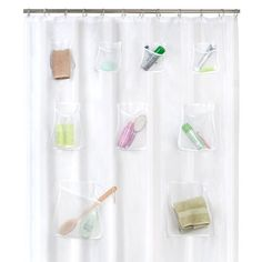 A Shower Curtain with POCKETS | 33 Insanely Clever Things Your Small Apartment Needs
