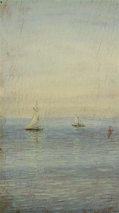 """Nikolai Nikanorovitch Doubovskoï (1859-1918) ~ """"Voiliers en mer"""" ~ Huile sur Panneau 25.7 x 14.8 cm"""