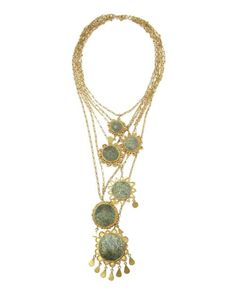 It's all about the gemstones with Pippa Small. This decadent 'New Sun' necklace features chrysocolla from Jaipur