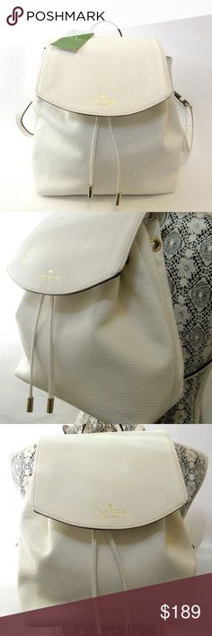 """Kate Spade Mulberry Street Small Breezy Backpack Kate Spade Mulberry Street Small Breezy Backpack Off White  Straight from KSNY, this fabulous backpack comes in  black pebbled leather with leather trim.   Features include: Leather Exterior Drawstring Closure with Tassels 14K Gold-Plated Hardware Adjustable Shoulder Straps Inside Zip Pocket 12"""" x 13"""" x 6"""" KATE SPADE MSRP $329 Price firm! NO TRADE!  ** BRAND NEW with TAGS ** kate spade Bags Backpacks"""