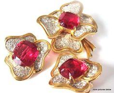 Vintage Brooch Pin Earrings Set SIGNED JOMAZ Pink Clear Rhinestone Flower