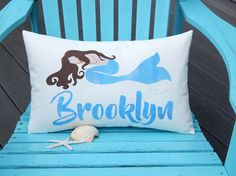 MERMAID PILLOW PERSONALIZED 12x20 lumbar swimming by crabbychris