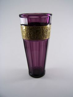 Bohemian amethyst coloured cut crystal glass vase with gilt frieze by Moser (sgn)