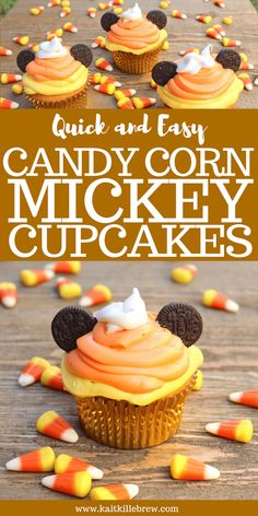 These Candy Corn Mickey Cupcakes will keep you feeling spooktacular this Halloween season! This recipe is quick and easy-- perfect for Halloween night! Halloween Desserts, Halloween Cupcakes, Spooky Halloween, Disney's Halloween Treat, Easy Halloween Food, Disney Halloween, Halloween Baking, Halloween Ideas, Mickey Cupcakes