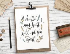 Hustle and heart will set you apart Printable by HeartOfLifeDesign