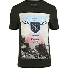 Dark green premium stag print t-shirt - print t-shirts - t-shirts / vests - men