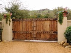 Tuscan Style Automatic Driveway Gates - mediterranean - exterior - los angeles - by Dynamic Garage Door Hacienda Style Homes, Spanish Style Homes, Spanish House, Tuscan Style Homes, Tor Design, Gate Design, Front Gates, Entrance Gates, Wooden Gates
