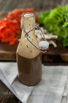 Creamy Balsamic Vinaigrette - making your own dressing is SO easy and it let's you cut out all the junk that might be lurking in store bought dressings.  @hiddenfruitnveg