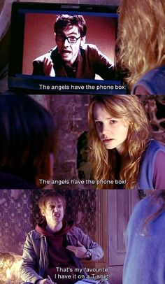 The angels have the phone box! The best part is I legitimately have that on a t-shirt. :D