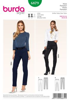 Burda Style Trousers 6879 (out of print) - The Foldline Burda Sewing Patterns, Clothing Patterns, Style Patterns, Pretty Patterns, Dress Patterns, Sewing Ideas, Sewing Projects, Jodhpur, Sewing Pants