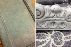 PROJECT GALLERY | Hueology Studio. The one on the left looks like a reverse-embossing technique, maybe with antiquing dust and stencil.