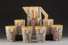Art Deco Ceramic Tennis Lemonade Set by Clarice Cliff, England
