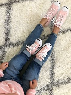 Mommy and me outfits, pink converse baby sneakers, Jack Purcell vapor pink sneakers, baby shoes, petite fashion blog, pink shoes, click the photo for outfit details!