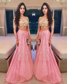 Jhanvi Kapoor looks pretty donning a sheer blouse and shimmery pink lehenga. Mehndi, Henna, Indian Attire, Indian Ethnic Wear, Indian India, Indian Lehenga, Lehenga Choli, Anarkali Frock, Indian Dresses
