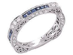 14k White Gold Pave Filigree Diamond Sapphire Eternity Wedding Band Ring 9 | eBay (I want in Tanzanite)