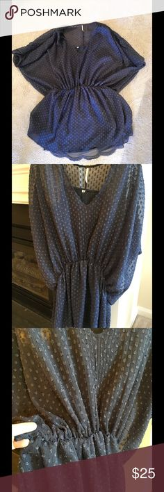 Free People Blouse Navy blue full sleeve shirt.  Has a lace trimmed slip... beautiful!! Free People Tops