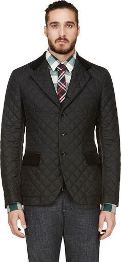 Junya Watanabe: Black Tweed & Quilted-Panel Blazer
