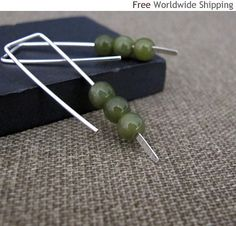 sterling silver modern earrings with tiny bead stones