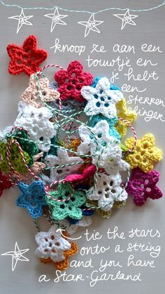 Star Garland By Ingrid - Free Crochet Pattern - See Full Sized Photo At http://3.bp.blogspot.com/-sLs1qoOE7NI/ULRtAq7xXRI/AAAAAAAALUo/DuGaEwIzTuA/s640/sterren+012.JPG For English Instructions - (ing-things)