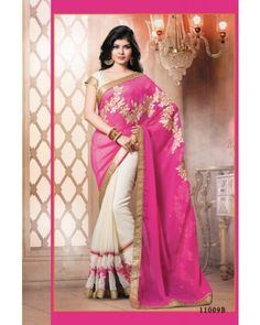 Off White And Pink Lace Border Saree