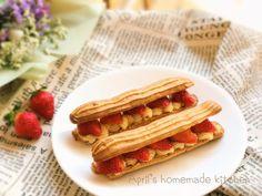 Lemon custard strawberry eclairs 檸檬卡士達草莓閃電泡芙
