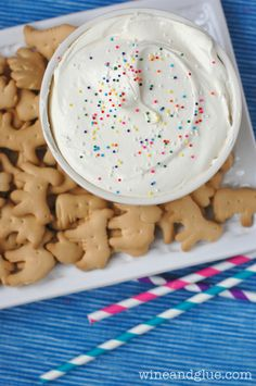 Cheesecake Cake Batter Dip   A super easy dip that combines the awesome flavors of cheesecake and cake batter! @Lisa Phillips-Barton (Wine & Glue)