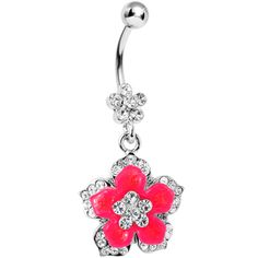Crystalline Gem Pink Neon Flower Dangle Belly Ring | Body Candy Body Jewelry