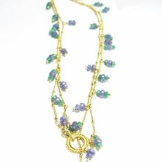 Lovely Tanzanite, Emerald, 24k Gold Vermeil, Sterling Silver Necklace