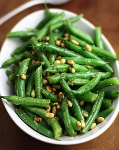 Green Bean Salad with Basil and Pine Nuts - yum! I really liked this and it was VERY easy side dish, Josh was a big fan of the pine nuts. I think I didn't use enough green beans though, definitely had too much sauce so think I measured incorrectly! JF 6/5/2014