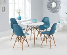 Buy the Charles Eames Style DSW Round Dining Table with 4 Eames Style DSW Chairs at Oak Furniture Superstore Oak Dining Table, Dining Chairs, Oak Furniture Superstore, Madeira Natural, Charles Eames, Dining Room Furniture, New Homes, Kitchen Ideas, Kitchens