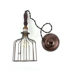 Fab Industrial Wire Pendant   this would rock in the kitchen.... several in a row? cool!!